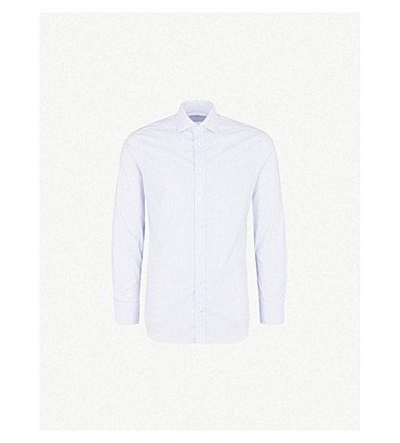 SMYTH & GIBSON Tailored-fit pinstriped cotton shirt (Sky blue
