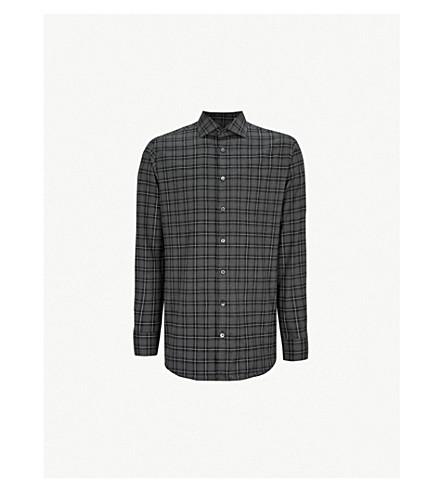 SMYTH & GIBSON 格纹修身版型拉丝棉衬衫 (灰色