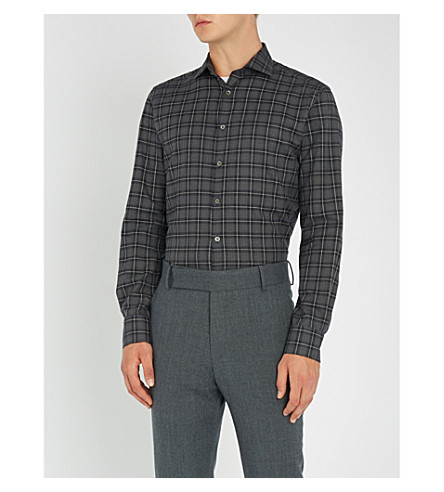 cotton Checked amp brushed SMYTH shirt Grey fit slim GIBSON xgECFqwY