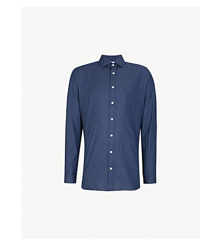 SMYTH & GIBSON Polka dot slim-fit brushed-cotton shirt (Navy