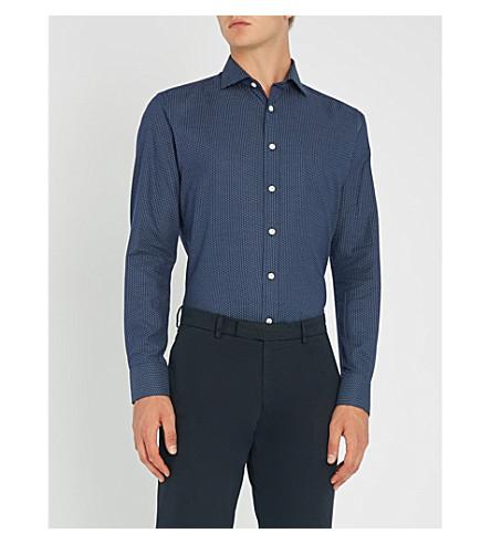 SMYTH & GIBSON 波点修身版型拉丝棉衬衫 (海军