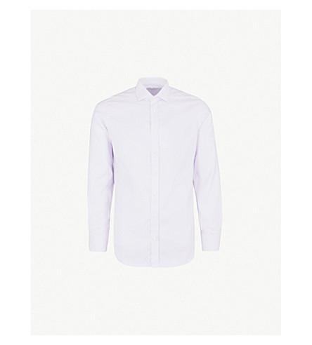 SMYTH & GIBSON Micro geometric-pattern tailored-fit cotton shirt (Lilac