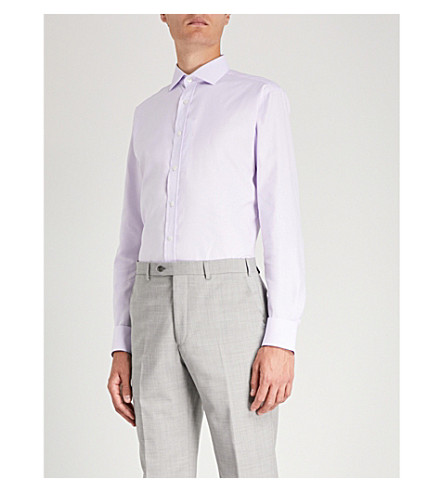 SMYTH & GIBSON 微几何图案精裁版型棉衬衫 (丁香花
