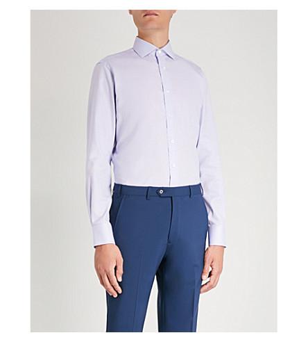 SMYTH & GIBSON Micro geometric-pattern tailored-fit cotton shirt (Navy white