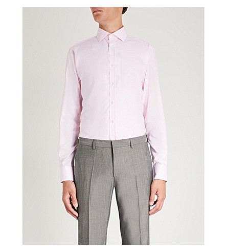 SMYTH & GIBSON Micro geometric-pattern tailored-fit cotton shirt (Pink