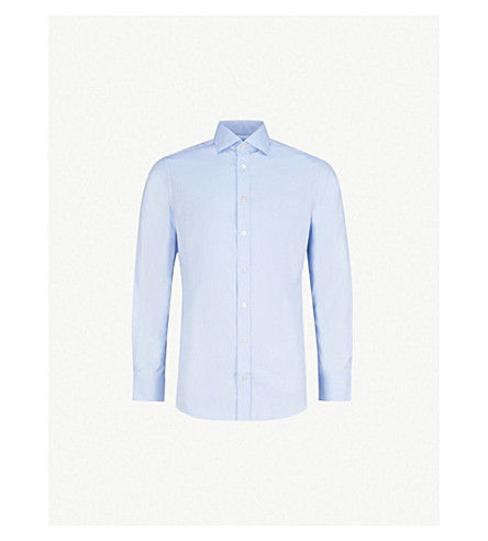 SMYTH & GIBSON Royal Oxford tailored-fit cotton shirt (Sky