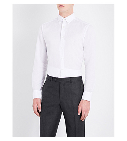 SMYTH & GIBSON Tailored-fit cotton and linen-blend shirt (White
