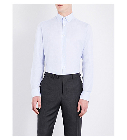 SMYTH & GIBSON Tailored-fit cotton and linen-blend shirt (Sky