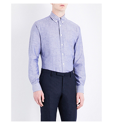 SMYTH & GIBSON Striped tailored-fit cotton and linen-blend shirt (Blue