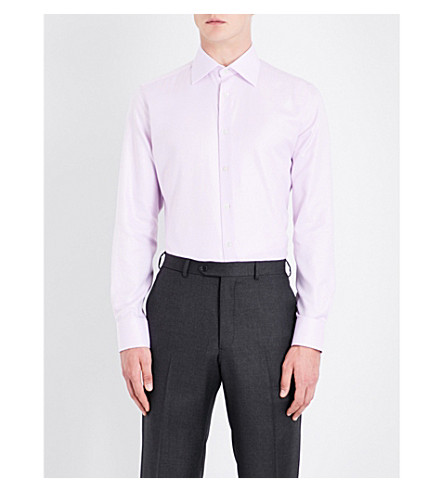 SMYTH & GIBSON Hopsack weave tailored-fit cotton shirt (Pink