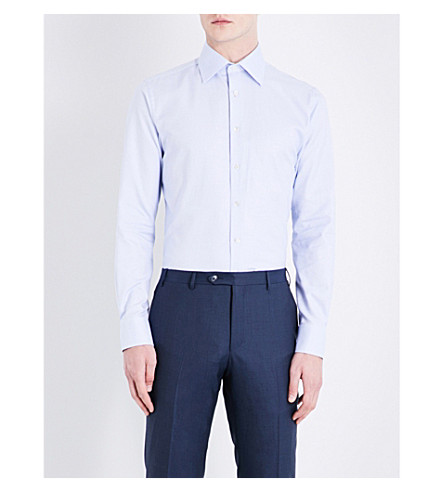 SMYTH & GIBSON Micro-checked tailored-fit cotton shirt (Sky