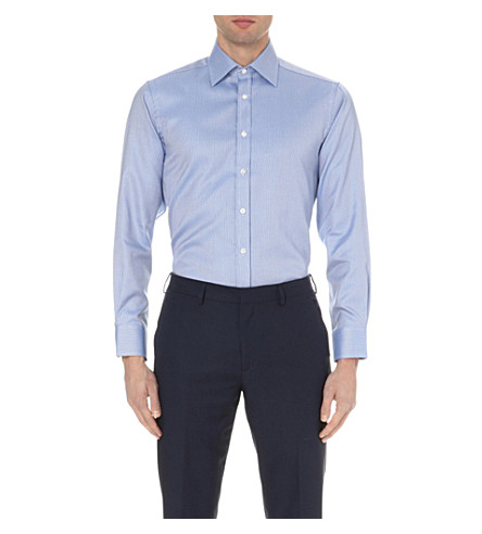 SMYTH & GIBSON Classic Panama tailored-fit cotton shirt (Blue