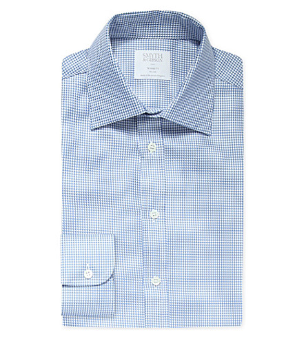 Smyth gibson micro chevron print tailored fit cotton for Tailored fit shirts meaning