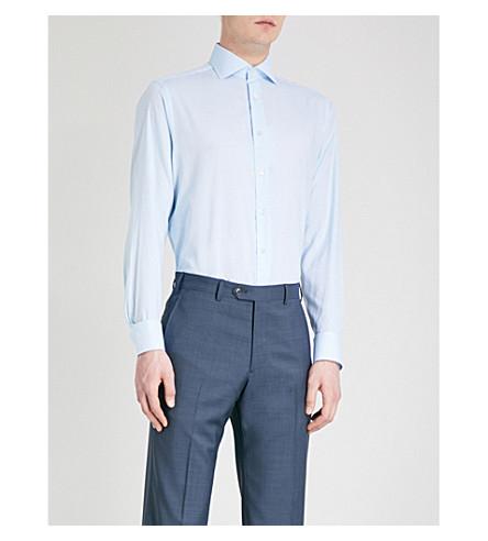 SMYTH & GIBSON Panama micro-check tailored-fit cotton shirt (Aqua