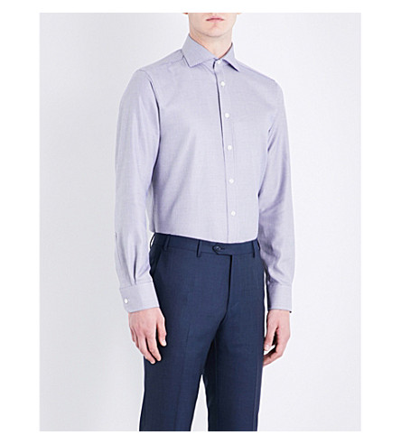 SMYTH & GIBSON Zigzag-patterned tailored-fit cotton shirt (Blue/white
