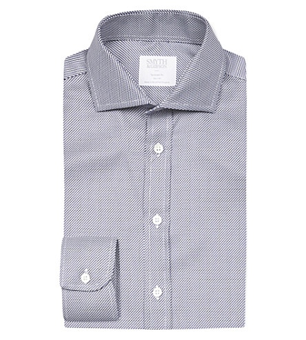 SMYTH & GIBSON Zigzag tailored-fit cotton shirt (Navy