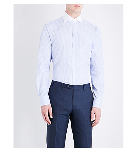 SMYTH & GIBSON Contrast-collar tailored-fit cotton-poplin shirt (Sky