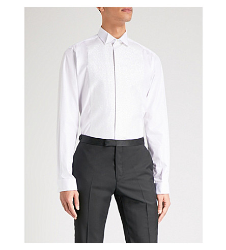 SMYTH & GIBSON Tailored-fit glitter-panelled cotton shirt (White
