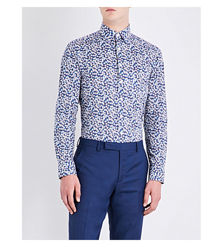 SMYTH & GIBSON Tailored-fit cotton shirt (Blue
