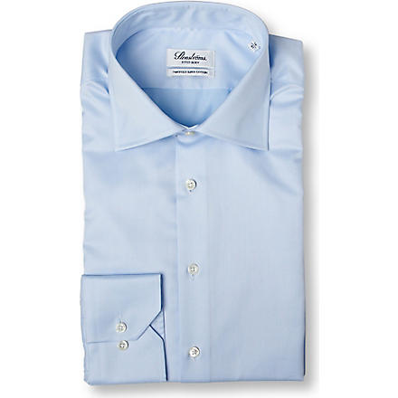 STENSTROMS Plain fitted single cuff shirt (Blue