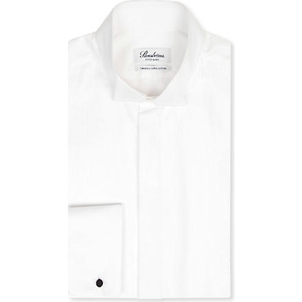 STENSTROMS Fitted pleated-bib wing-collar shirt (White