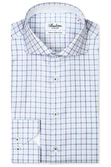 STENSTROMS Checked fitted single-cuff shirt