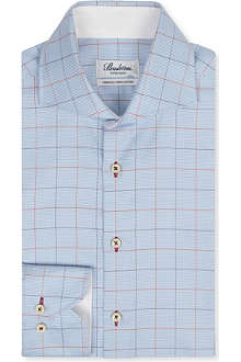 STENSTROMS Fitted check single-cuff shirt
