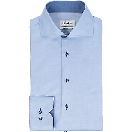 STENSTROMS Contrasting fitted single-cuff shirt (Blue