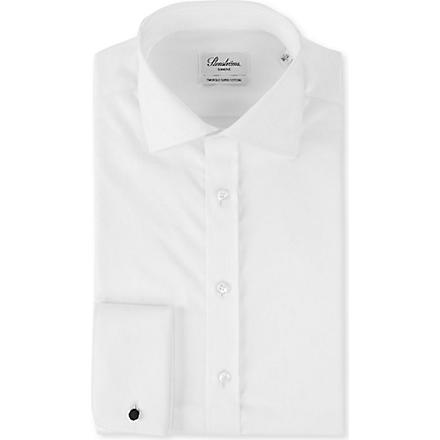 STENSTROMS Plain slimline single cuff shirt (White