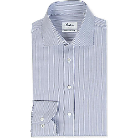 STENSTROMS Striped slimline single-cuff shirt (Navy