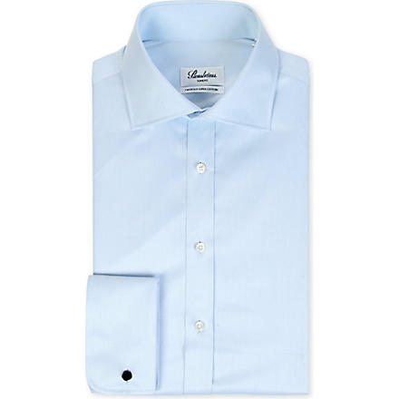 STENSTROMS Plain slim-fit double-cuff shirt (Blue