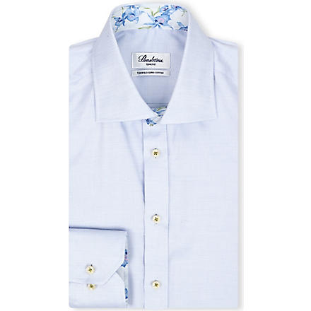 STENSTROMS Oxford slimline single-cuff shirt (Blue