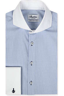 STENSTROMS Slim-fit contrast-collar checked shirt