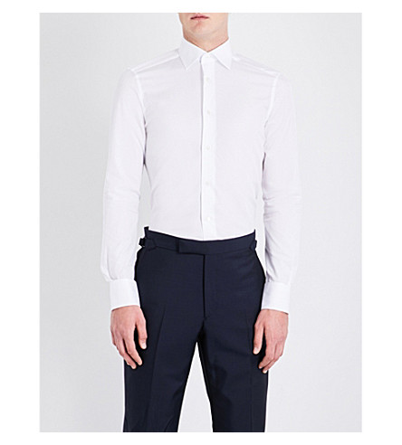 ERMENEGILDO ZEGNA Tailored-fit cotton shirt (White