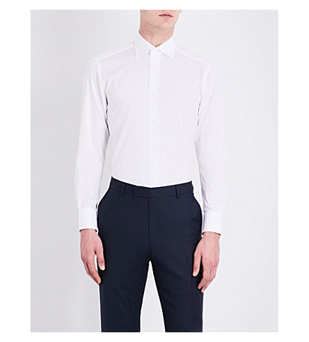 ERMENEGILDO ZEGNA Tailored-fit cotton-poplin shirt (White