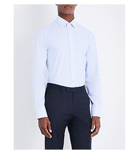 ERMENEGILDO ZEGNA Geometric-patterned tailored-fit cotton shirt (Sky