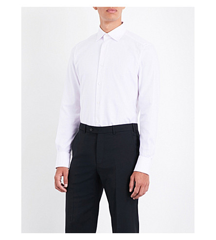 ERMENEGILDO ZEGNA Basketweave tailored-fit cotton-poplin shirt (Pink