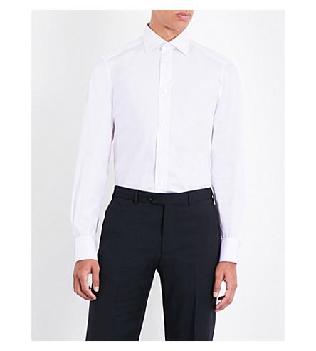 ERMENEGILDO ZEGNA Striped tailored-fit cotton shirt (Pink