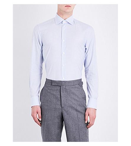 ERMENEGILDO ZEGNA Checked tailored-fit cotton shirt (Sky