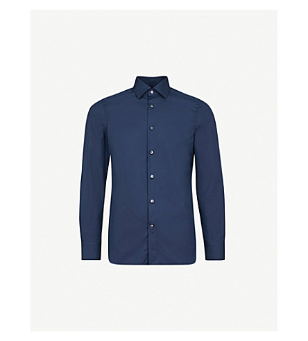 ERMENEGILDO ZEGNA Tailored-fit cotton shirt (Navy
