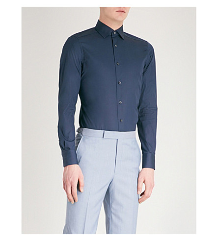 ERMENEGILDO ZEGNA Tailored-fit cotton shirt (Navy