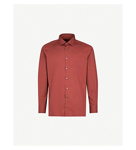 ERMENEGILDO ZEGNA Regular-fit cotton shirt (Red
