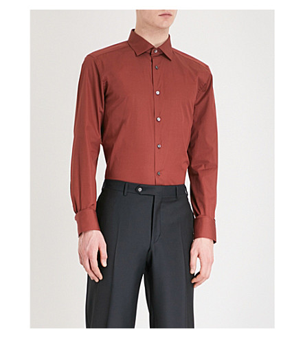 ERMENEGILDO ZEGNA Regular-fit cotton shirt (Red