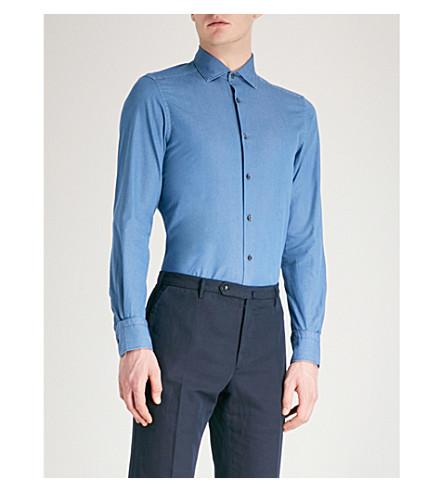 ERMENEGILDO ZEGNA Tailored-fit cotton-chambray shirt (Blue