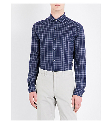 ERMENEGILDO ZEGNA Windowpane-check tailored-fit cotton shirt (Navy