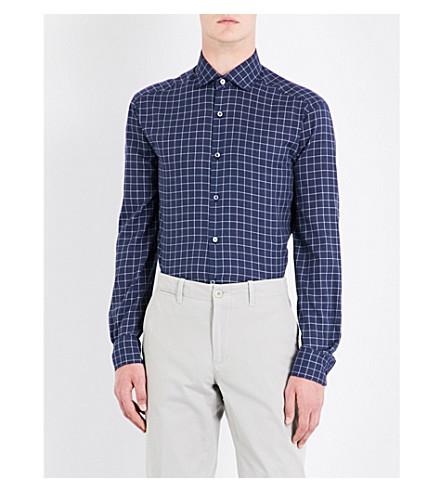 ERMENEGILDO ZEGNA Windowpane-check tailored-fit cotton shirt (Navy