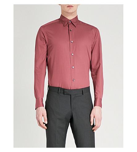 ERMENEGILDO ZEGNA Geo-print tailored-fit cotton shirt (Red