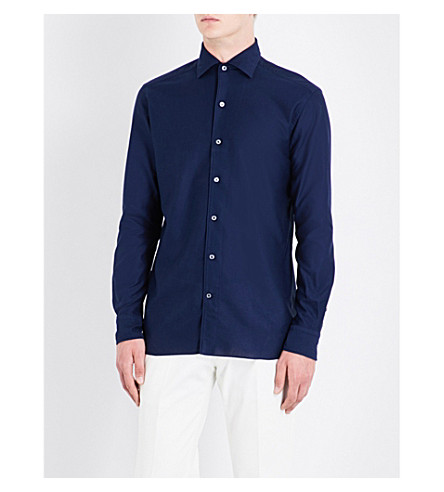 ERMENEGILDO ZEGNA Regular-fit cotton-piqué shirt (Navy
