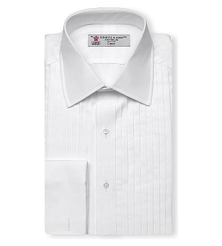 TURNBULL & ASSER Pleated panel dress shirt (Wht