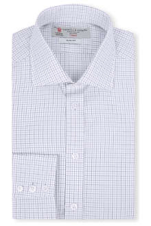 TURNBULL & ASSER Checked slim-fit single-cuff shirt